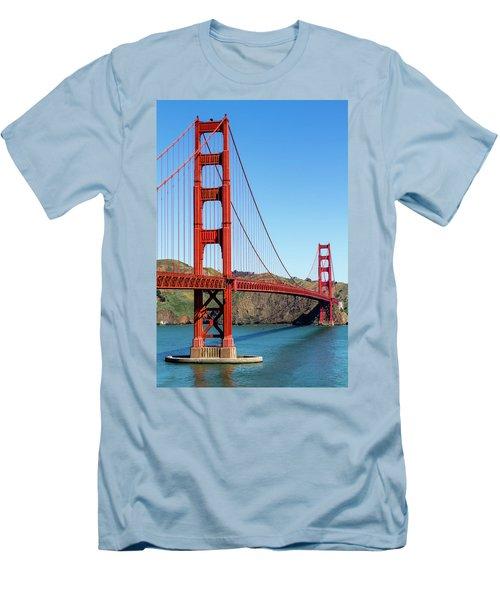 Golden Gate Bridge On Sunny Morning Men's T-Shirt (Slim Fit) by Teri Virbickis
