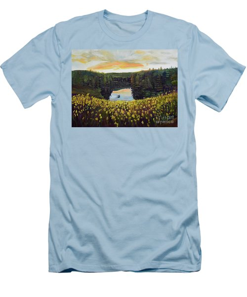 Men's T-Shirt (Athletic Fit) featuring the painting Goldenrods On Davenport Lake-ellijay, Ga  by Jan Dappen