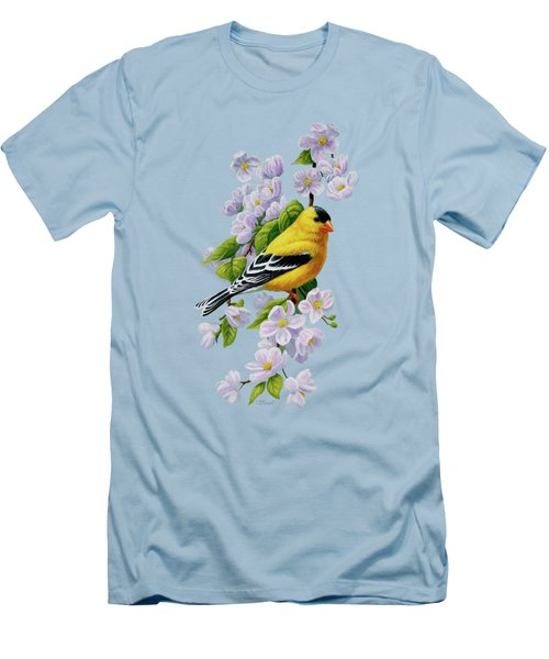 Goldfinch Blossoms Greeting Card 1 Men's T-Shirt (Slim Fit) by Crista Forest