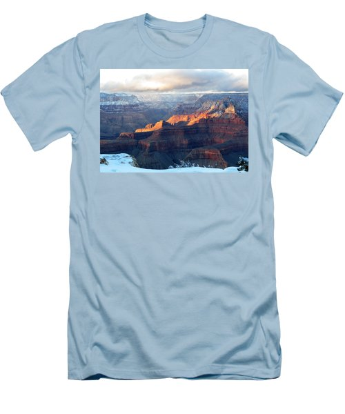 Grand Canyon With Snow Men's T-Shirt (Slim Fit) by Laurel Powell
