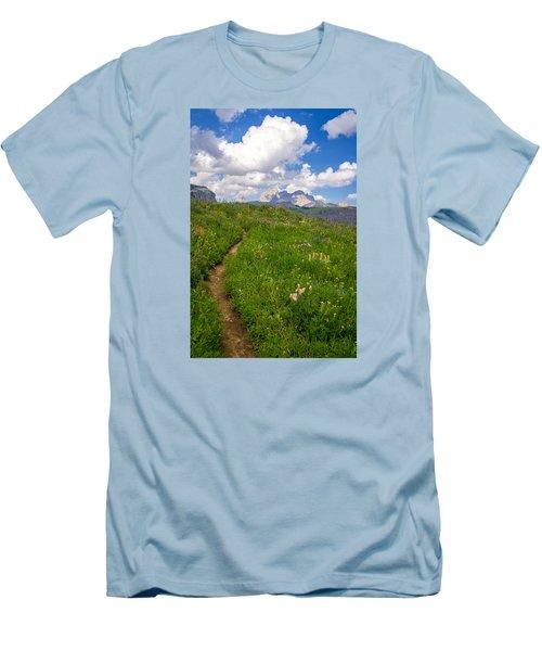 Grand Teton Scenic Hiking Path Men's T-Shirt (Slim Fit) by Serge Skiba
