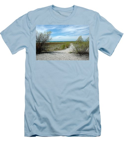 Men's T-Shirt (Slim Fit) featuring the photograph Grand Traverse Bay Path by LeeAnn McLaneGoetz McLaneGoetzStudioLLCcom