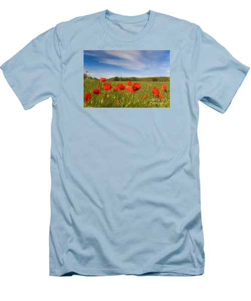 Men's T-Shirt (Slim Fit) featuring the photograph Grassland And Red Poppy Flowers by Jean Bernard Roussilhe