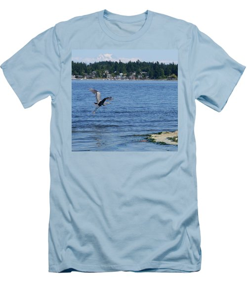 Men's T-Shirt (Slim Fit) featuring the photograph Great Blue Heron by Peter Mooyman