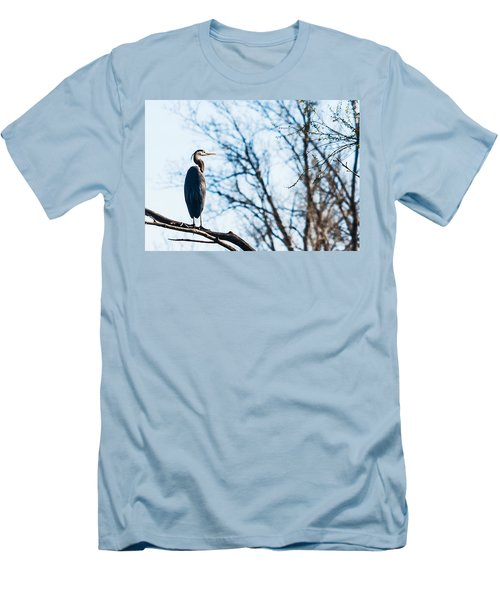 Great Blue Heron Sitting In A Tree Men's T-Shirt (Slim Fit) by Edward Peterson