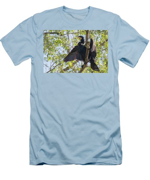 Great Cormorant - High In The Tree Men's T-Shirt (Slim Fit) by Jivko Nakev