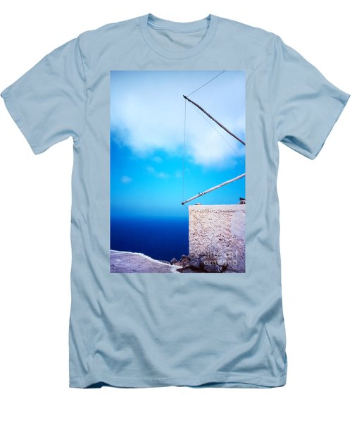 Greek Windmill Men's T-Shirt (Slim Fit) by Silvia Ganora