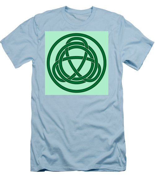 Men's T-Shirt (Slim Fit) featuring the digital art Green Celtic Knot by Jane McIlroy