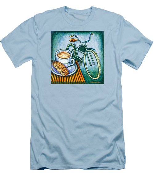 Green Electra Delivery Bicycle Coffee And Biscotti Men's T-Shirt (Slim Fit) by Mark Jones