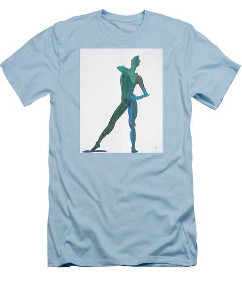 Men's T-Shirt (Slim Fit) featuring the painting Green Gesture 2 Pointing by Shungaboy X
