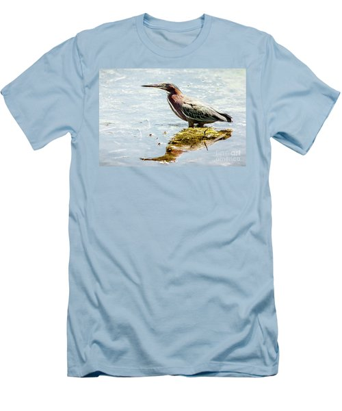 Green Heron Bright Day Men's T-Shirt (Slim Fit) by Robert Frederick