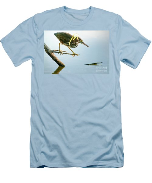 Green Heron Sees Minnow Men's T-Shirt (Slim Fit) by Robert Frederick