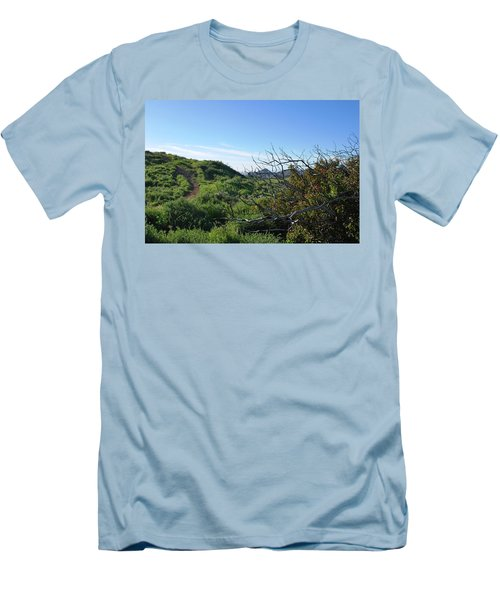 Men's T-Shirt (Athletic Fit) featuring the photograph Green Hills And Bushes Landscape by Matt Harang