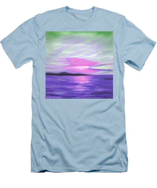 Green Skies And Purple Seas Sunset Men's T-Shirt (Athletic Fit)