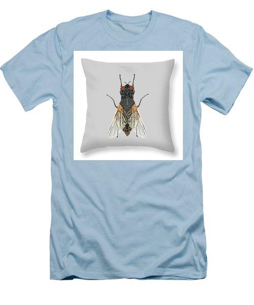 Men's T-Shirt (Slim Fit) featuring the digital art Grey Fly Pillow by R  Allen Swezey