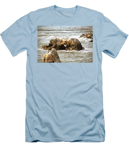 Men's T-Shirt (Slim Fit) featuring the photograph Grey Water At Window Rock by Barbara Snyder