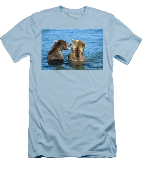 Grizzly Bear Talk Men's T-Shirt (Athletic Fit)