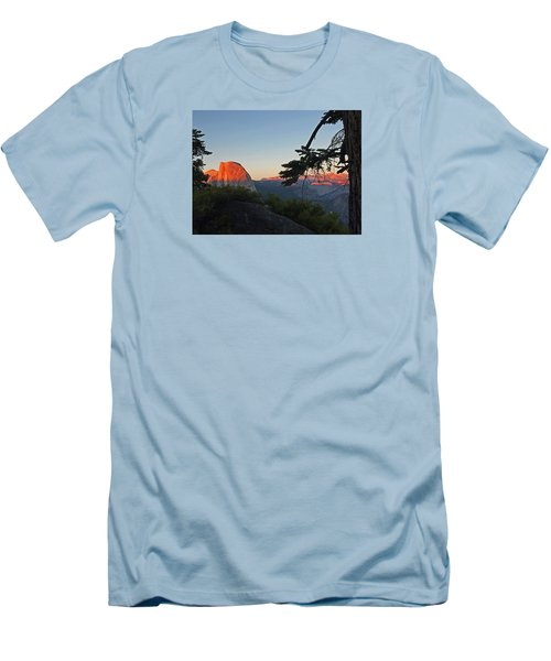 Men's T-Shirt (Athletic Fit) featuring the photograph Half Dome - Sunset On A Bright Day by Walter Fahmy