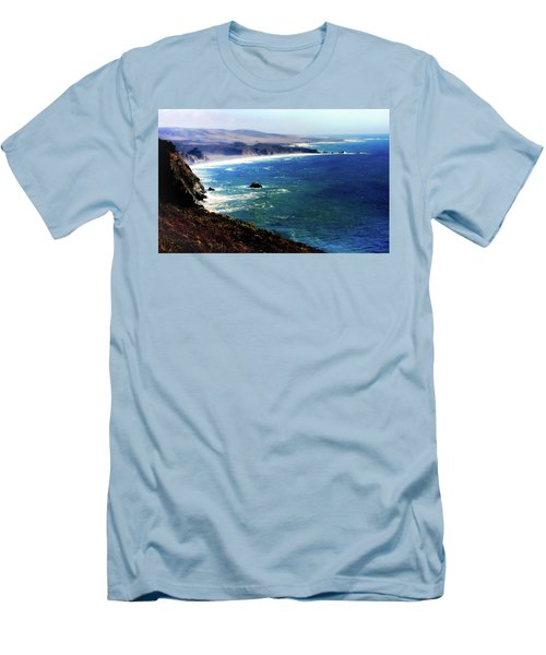 Half Moon Bay Men's T-Shirt (Slim Fit) by Karen Wiles