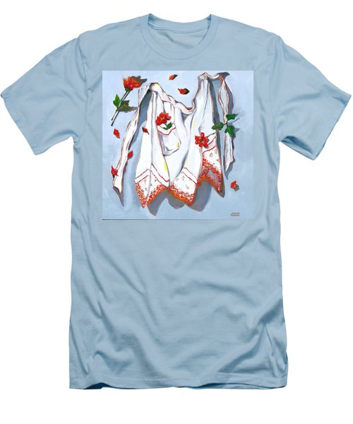 Men's T-Shirt (Slim Fit) featuring the painting Handkerchief Apron by Susan Thomas