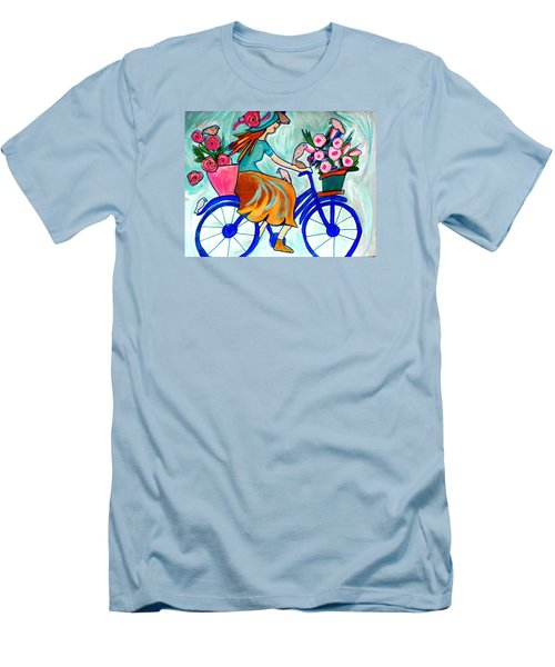 Happy Flower Lady Men's T-Shirt (Athletic Fit)