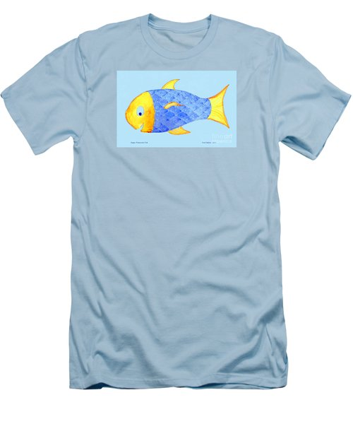 Happy Watercolor Fish Men's T-Shirt (Slim Fit) by Fred Jinkins