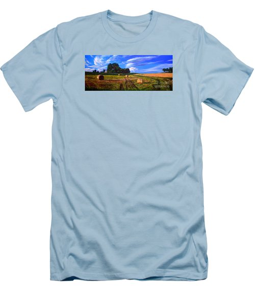 Hay Rolls On The Farm By Christopher Shellhammer Men's T-Shirt (Athletic Fit)
