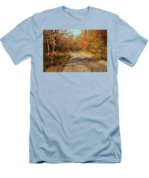 Men's T-Shirt (Slim Fit) featuring the digital art Hazen Notch Summit Road by John Selmer Sr