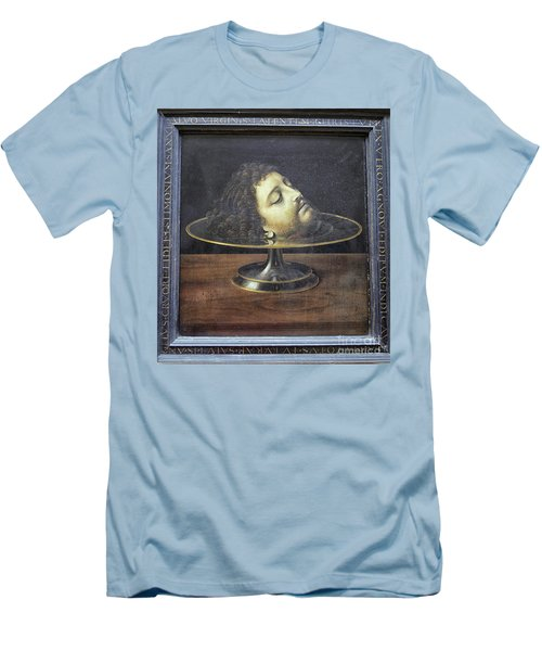 Men's T-Shirt (Slim Fit) featuring the photograph Head Of John The Baptist, 1507, With Frame And Inscription -- By by Patricia Hofmeester