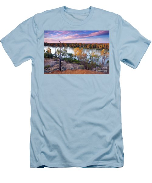 Heading Cliffs Murray River South Australia Men's T-Shirt (Slim Fit) by Bill Robinson