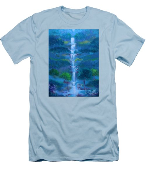 Men's T-Shirt (Slim Fit) featuring the painting Heavenly Falls by Stacey Zimmerman
