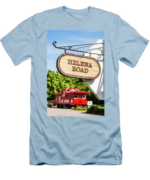 Men's T-Shirt (Slim Fit) featuring the photograph Helena Road Sign by Parker Cunningham