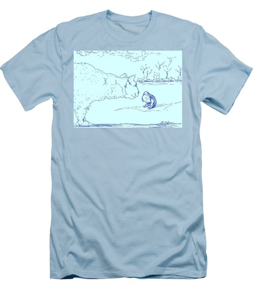 Men's T-Shirt (Slim Fit) featuring the drawing Hello Birdie by Denise Fulmer