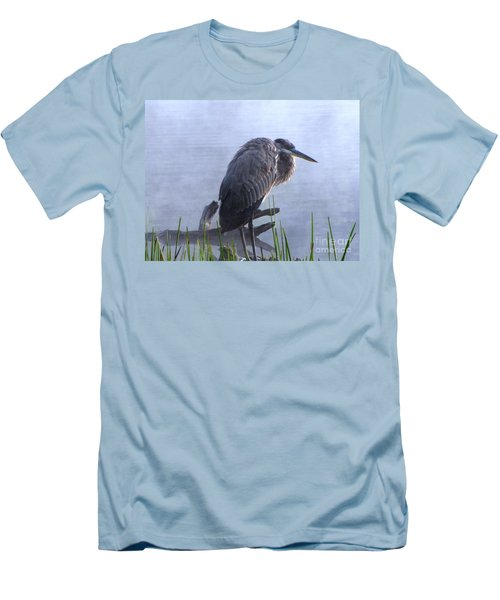 Heron 5 Men's T-Shirt (Slim Fit) by Melissa Stoudt