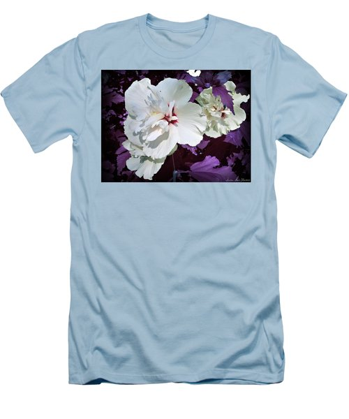 Men's T-Shirt (Athletic Fit) featuring the photograph Hibiscus - Circa 2006 Saratoga, Ny by Iowan Stone-Flowers