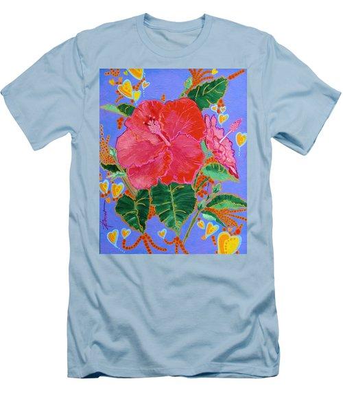 Hibiscus Motif Men's T-Shirt (Athletic Fit)