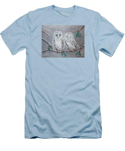 Hiboux En Hiver Men's T-Shirt (Athletic Fit)