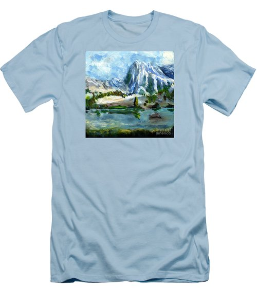 High Lake First Snow Men's T-Shirt (Slim Fit) by Randy Sprout