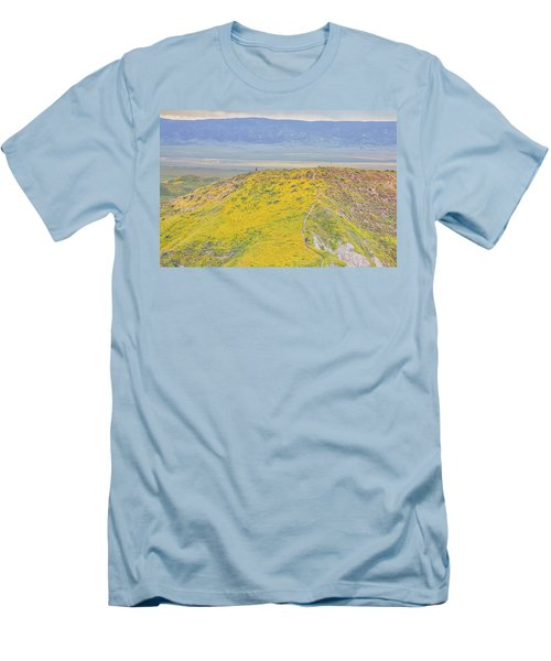 Men's T-Shirt (Slim Fit) featuring the photograph Hiking The Temblor by Marc Crumpler