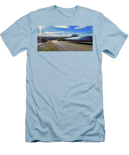 Hill Country Back Road Long Exposure Men's T-Shirt (Slim Fit) by Micah Goff