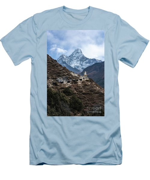 Men's T-Shirt (Slim Fit) featuring the photograph Himalayan Yak Train by Mike Reid