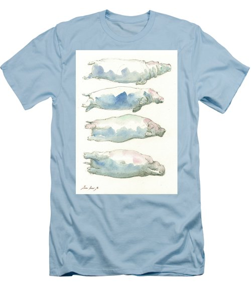 Hippo Swimming Study Men's T-Shirt (Athletic Fit)
