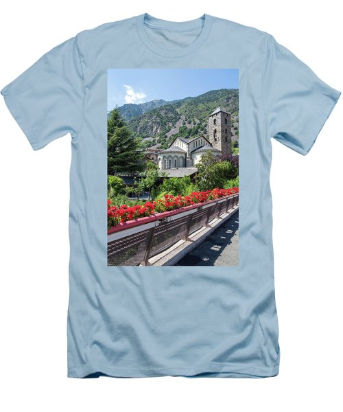 Historic Town Of Andorra La Vella Men's T-Shirt (Slim Fit) by GoodMood Art