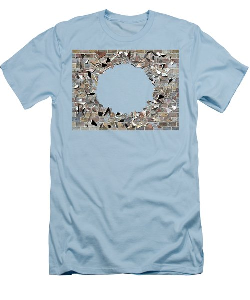 Men's T-Shirt (Slim Fit) featuring the digital art Hole In The Wall - Exploding Wal by Michal Boubin
