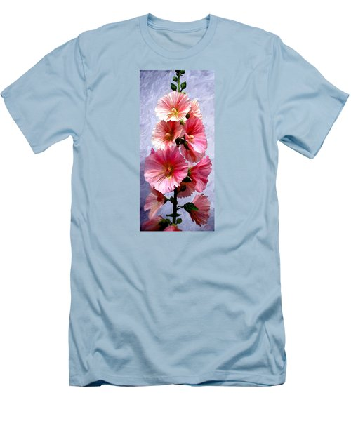Men's T-Shirt (Slim Fit) featuring the painting Hollyhocks by James Shepherd