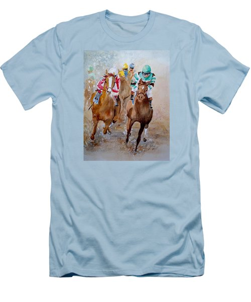 Men's T-Shirt (Slim Fit) featuring the painting Home Stretch by Marilyn Zalatan