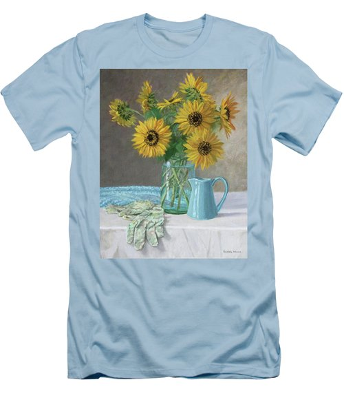 Homegrown - Sunflowers In A Mason Jar With Gardening Gloves And Blue Cream Pitcher Men's T-Shirt (Athletic Fit)