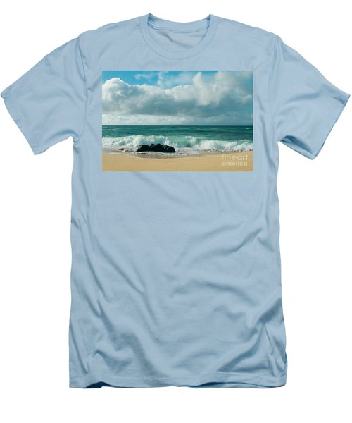 Men's T-Shirt (Athletic Fit) featuring the photograph Hookipa Beach Pacific Ocean Waves Maui Hawaii by Sharon Mau