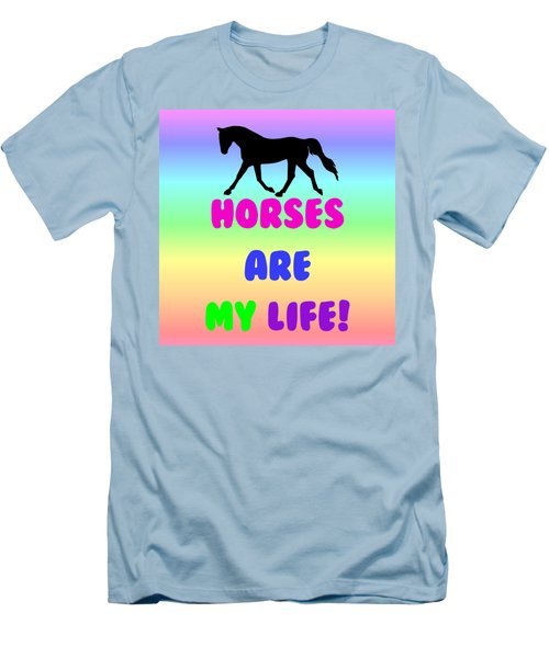 Horses Are My Life Men's T-Shirt (Slim Fit) by Patricia Barmatz