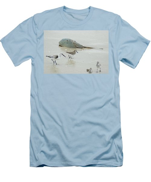 Men's T-Shirt (Slim Fit) featuring the photograph Horseshoe Crab With Migrating Shorebirds by Richard Bryce and Family